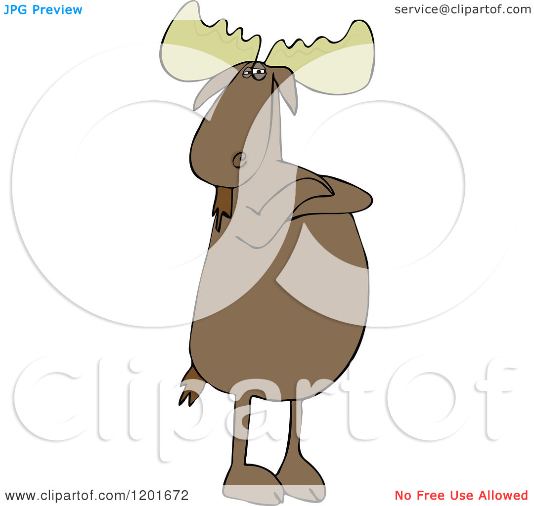 Cartoon of a Defiant Moose Standing Upright with Folded Arms.