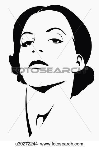 Drawings of Closeup of defiant young woman u30272244.