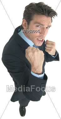 Stock Photo Business Making Defiant Fists Camera Clipart.