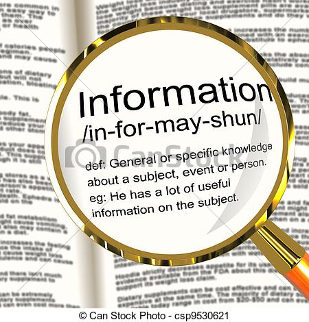 Clipart of Information Definition Magnifier Showing Knowledge Data.
