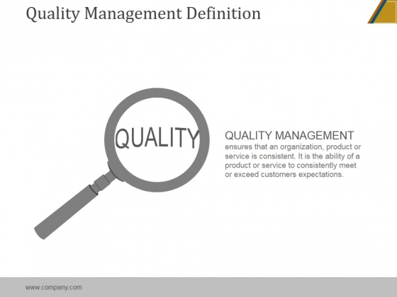 Quality Management Definition Ppt PowerPoint Presentation Clipart.