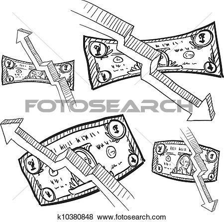 Clip Art of Inflation and deflation sketch k10380848.