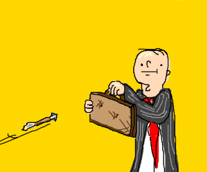 businessman attempts to deflect arrows (drawing by 101Jewpas).