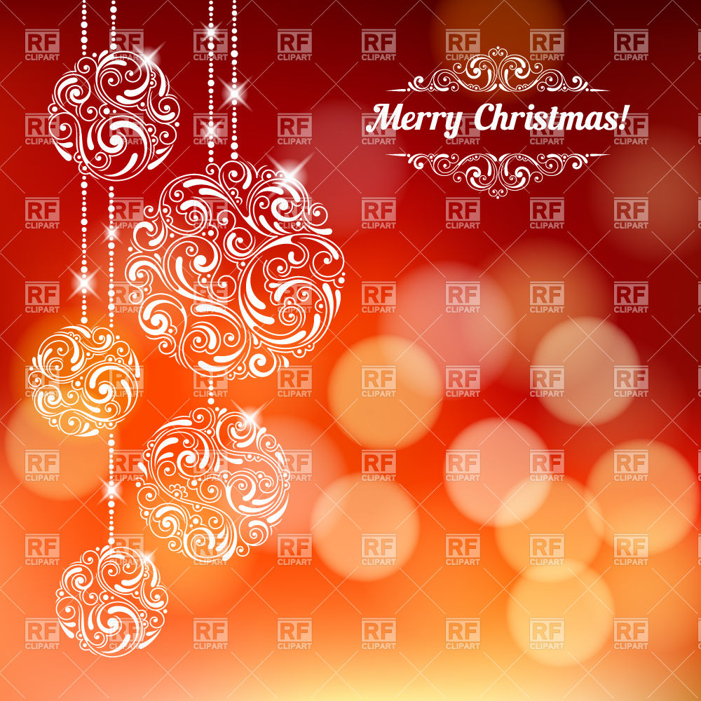 Hanging ornament christmas balls on defocused background Vector.