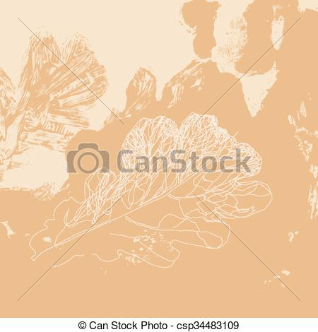 Vector Clipart of Autumn defoliation in the nature. Foliage of oak.