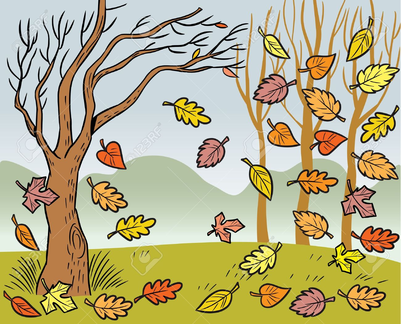 The Illustration Presented In Autumn Landscape And Defoliation.