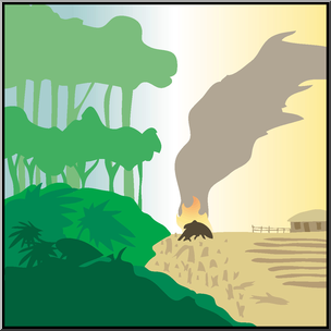 Clip Art: Environmental Concerns: Deforestation Color I abcteach.com.