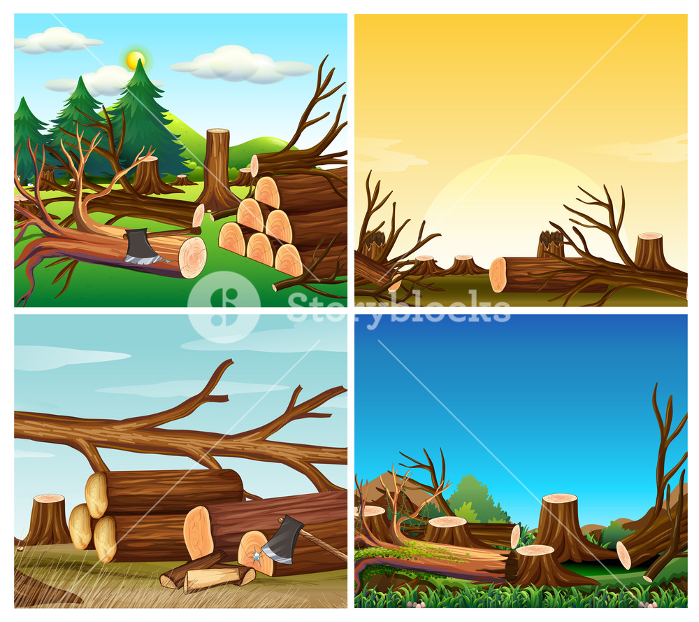 Four scenes of deforestation Royalty.