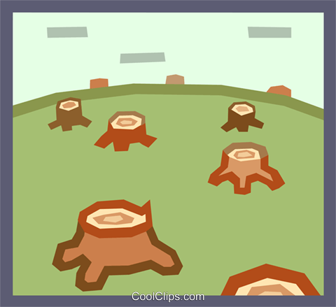 deforestation Royalty Free Vector Clip Art illustration.