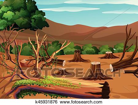Deforestation scene at daytime Clip Art.