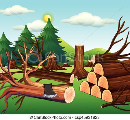 Deforestation scene with chopped woods.