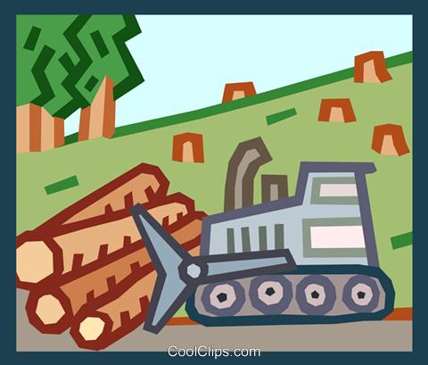 deforestation Royalty Free Vector Clip Art illustration.