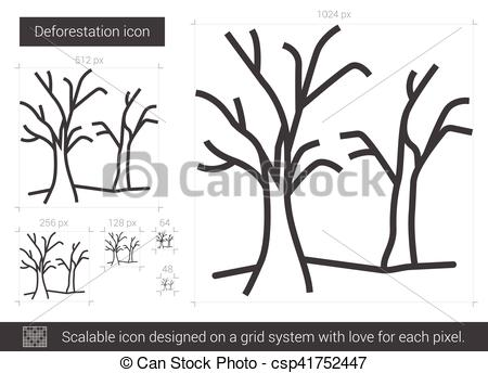 Deforestation line icon..