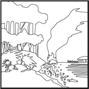 Clip Art: Environmental Concerns: Deforestation B&W I abcteach.com.