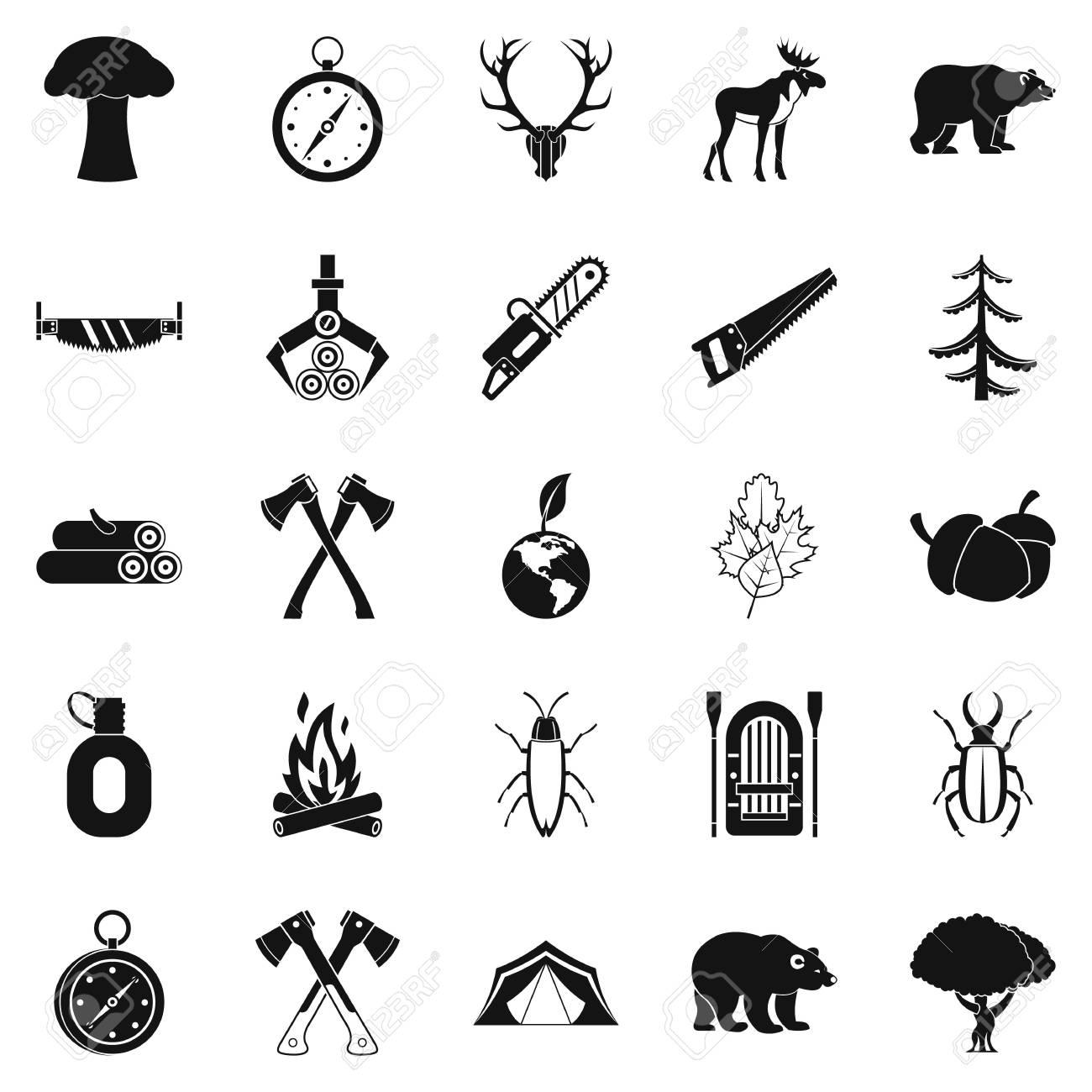 Deforestation icons set. Simple set of 25 deforestation vector...