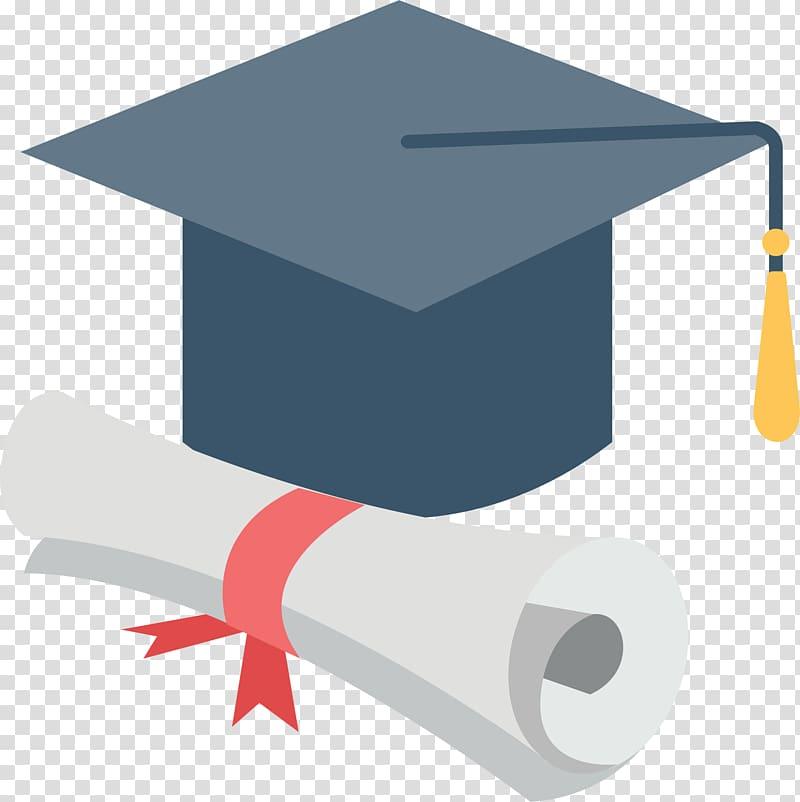 Graduation hat and paper illustration, Bachelors degree.