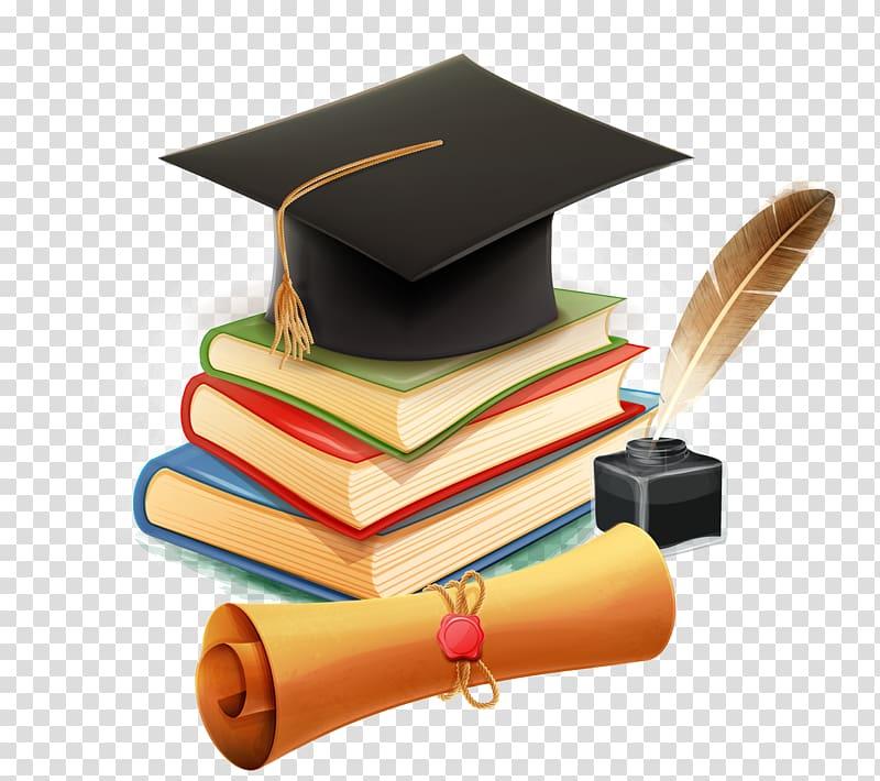 Learning Bachelor's degree, school supplies, black academic mortar.