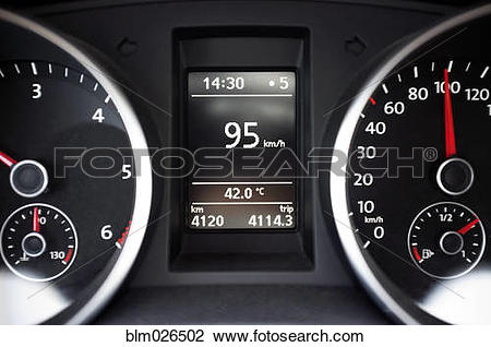 Stock Photo of Thermometer on a car dashboard indicating 42.