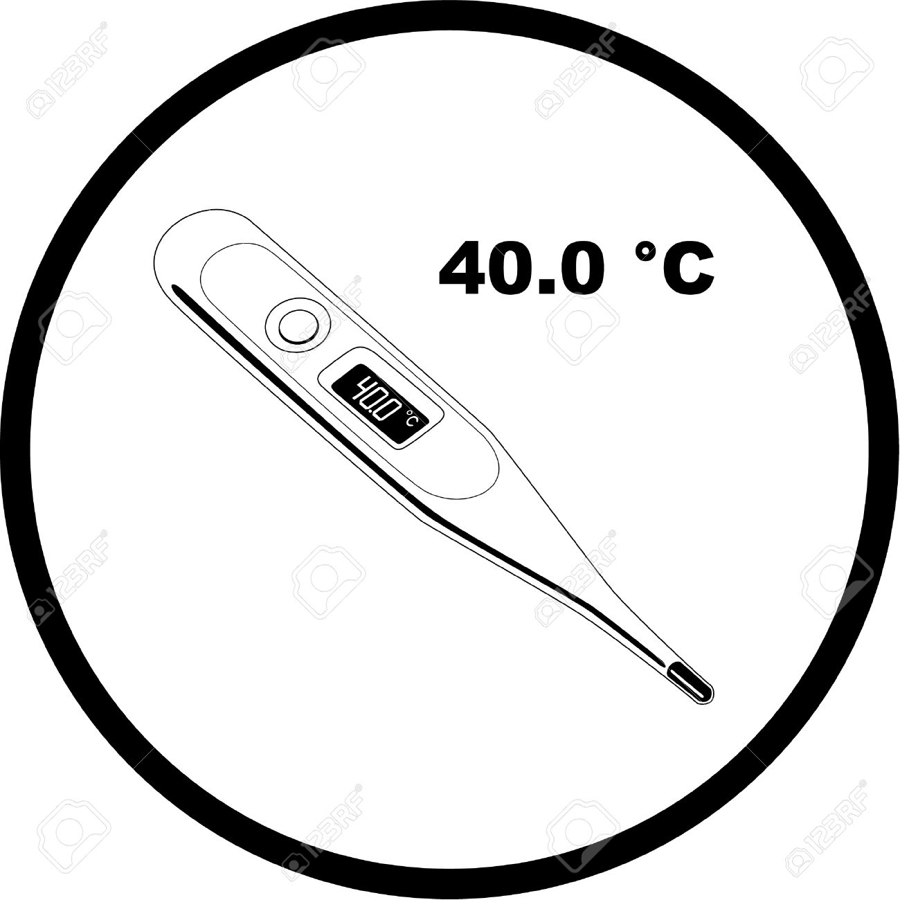 Vector Thermometer Icon. Shows 40 Degrees Celsius. Black And.