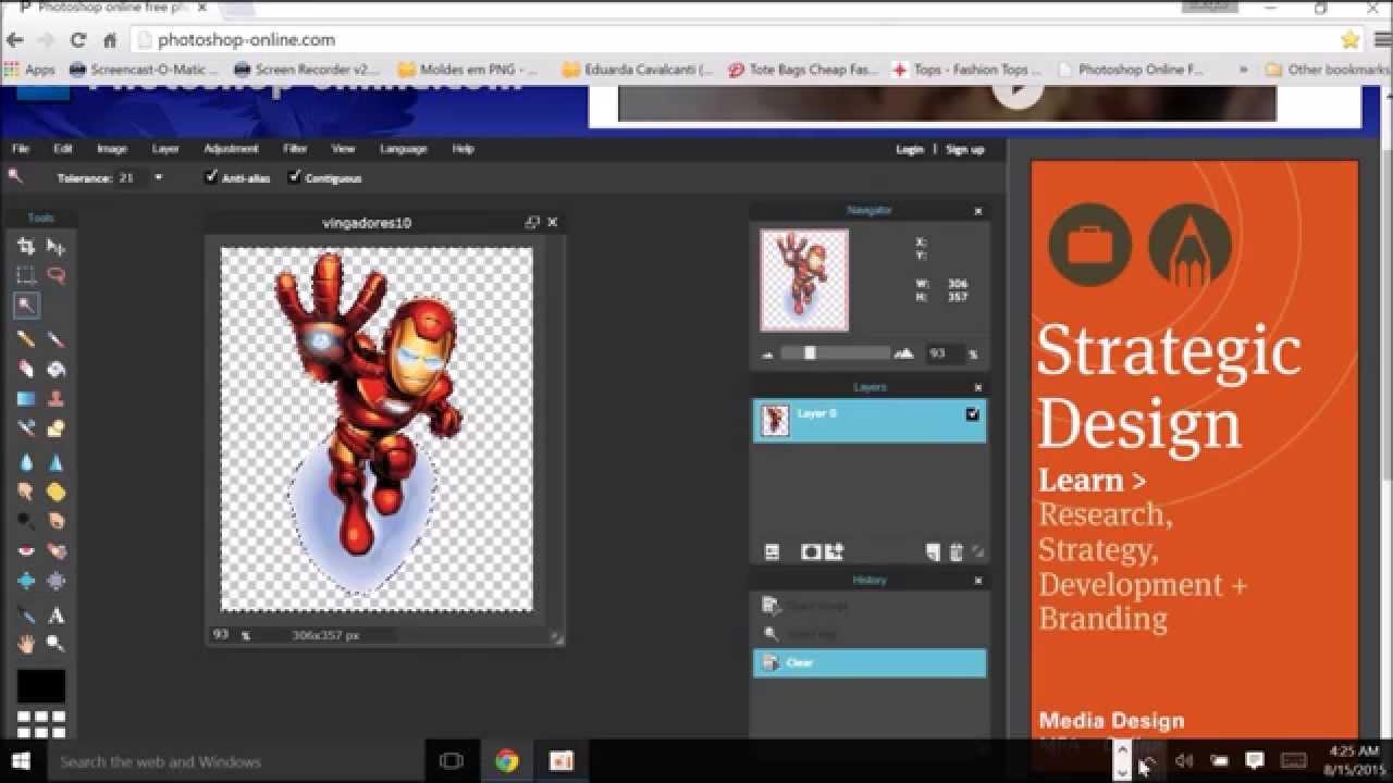 Como deixar o fundo da imagem Transparente (PNG) no Photoshop online.