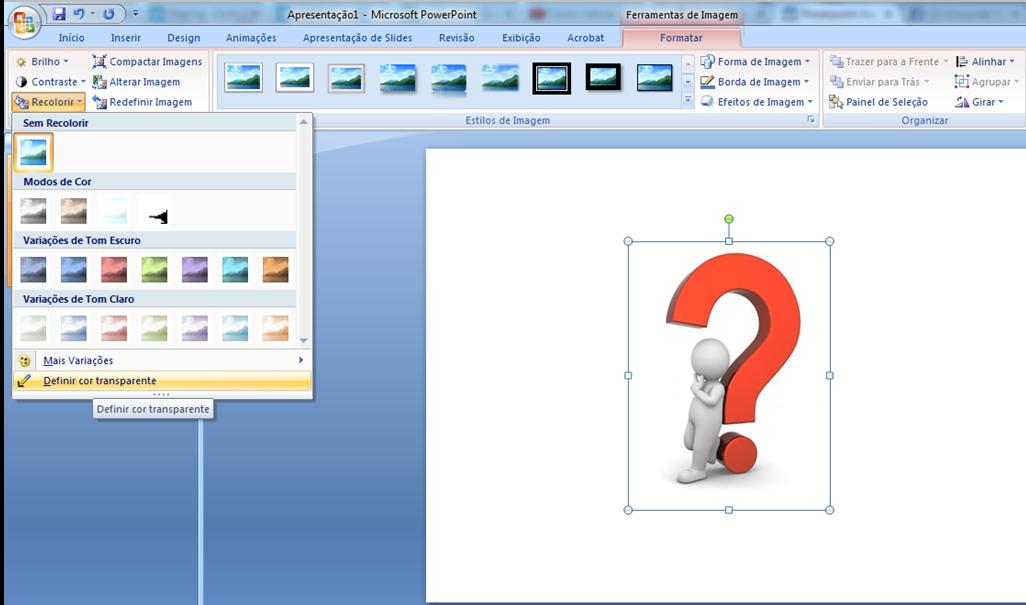 PowerPoint: Colocar fundo transparente em imagem.