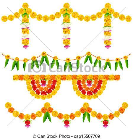 Vector Clipart of Colorful Flower Decoration Arrangement.