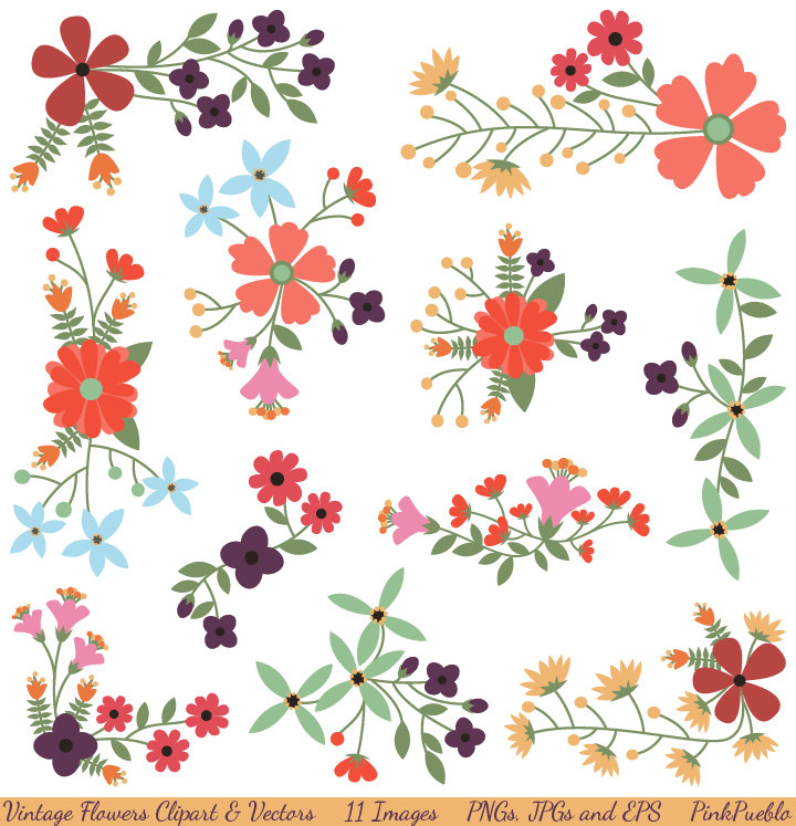 Vintage Flowers Clipart Clip Art and Vectors, Flower Decoration.
