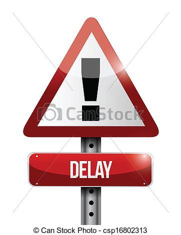 Vector Clip Art of delay warning road sign illustration design.