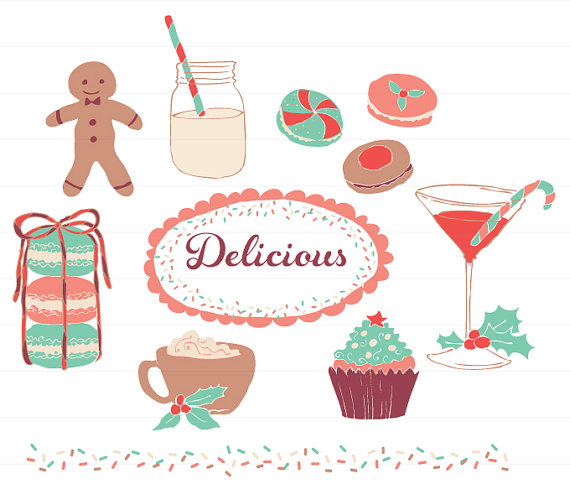 Delicious Holidays Desserts and Drinks Clipart for by ReaniDesigns.