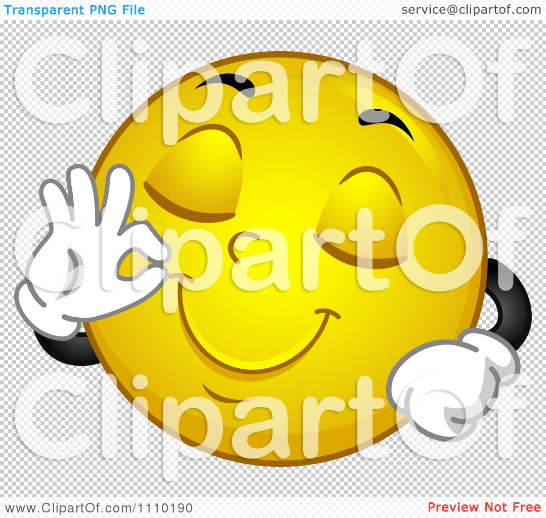 Clipart Yellow Smiley Gesturing Okay For Delicious.