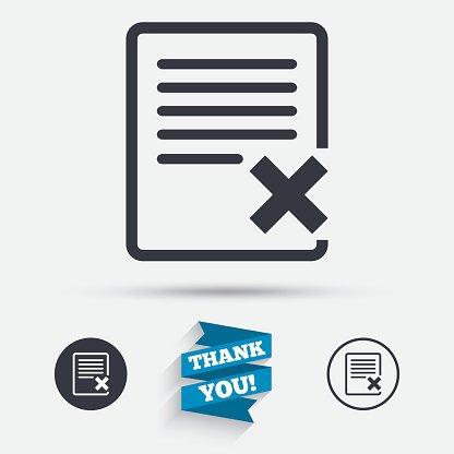 Delete file sign icon. Remove document symbol. Clipart Image.