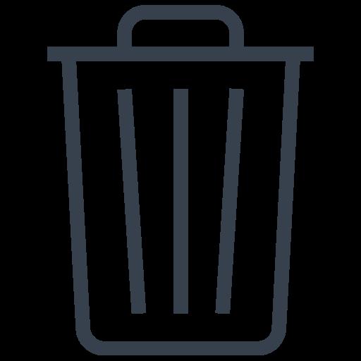 Bin, delete, empty, out, recycle, remove, trash icon.