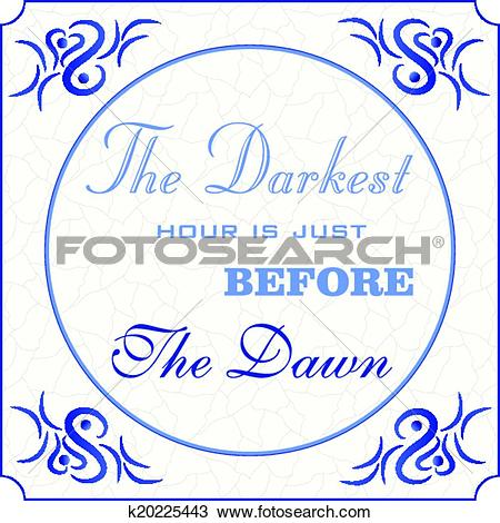 Clipart of Original design of a traditional delft blue tile with.