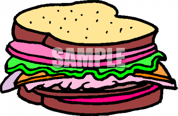 Clipart Picture of a Deli Meat Sandwich.