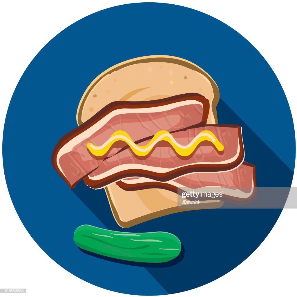 Deli Meat Cuts Corned Beef Pastrami Sandwich Flat Design Themed Icon.
