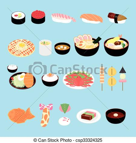 Vector Illustration of attractive Japan delicacy and snacks.