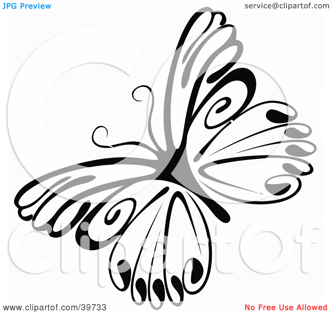 Clipart Illustration of a Delicate Black And White Butterfly by.