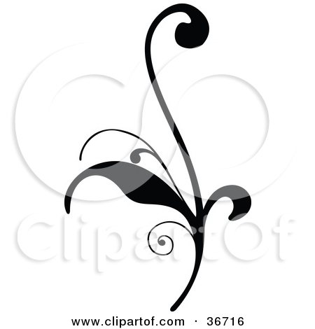 Clipart Illustration of a Delicate Black Silhouetted Elegant Leafy.