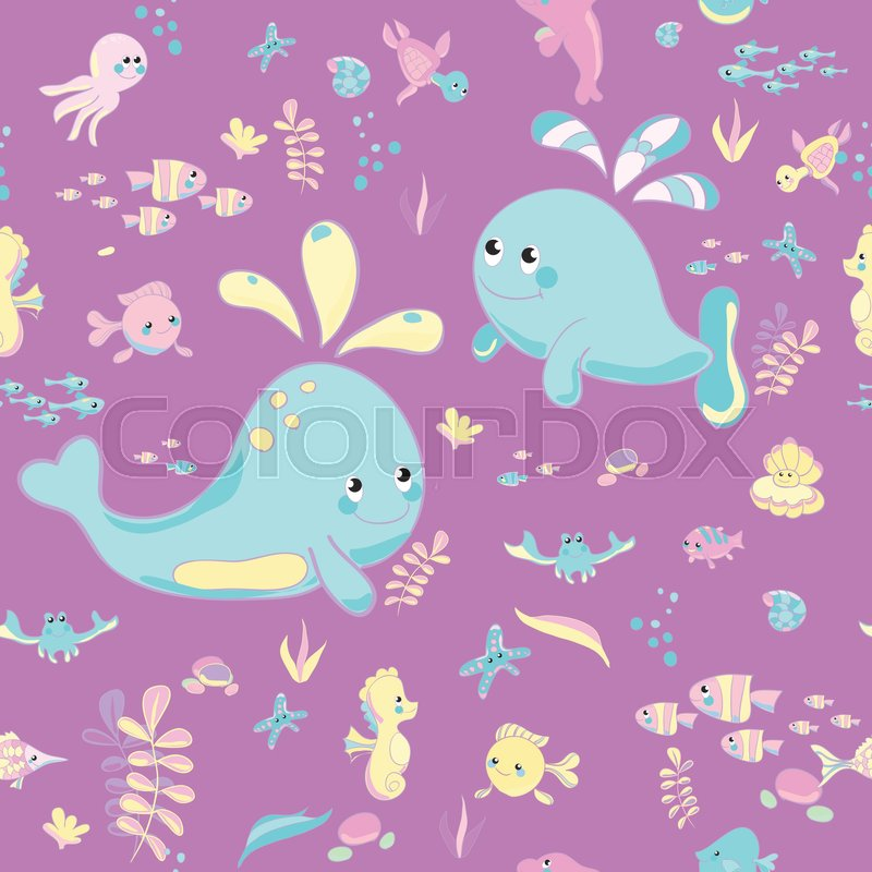 Sea Pattern modern style delicate color. Vector background.