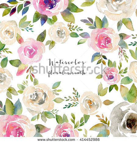Watercolor Floral Frame Colorful Floral Wreath Stock Illustration.