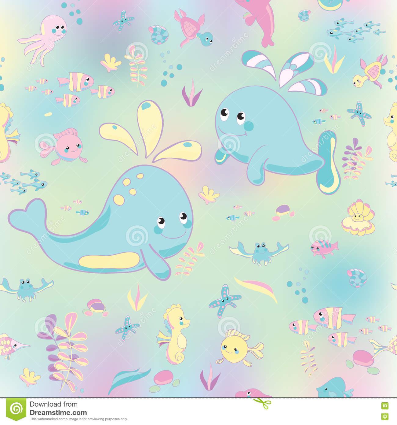 Sea Pattern Modern Style Delicate Color. Stock Illustration.