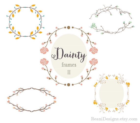 Dainty and Delicate Floral Frames Design Clipart by.