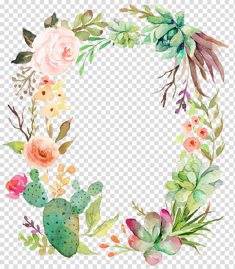 Delicate floral wreath transparent background PNG clipart.
