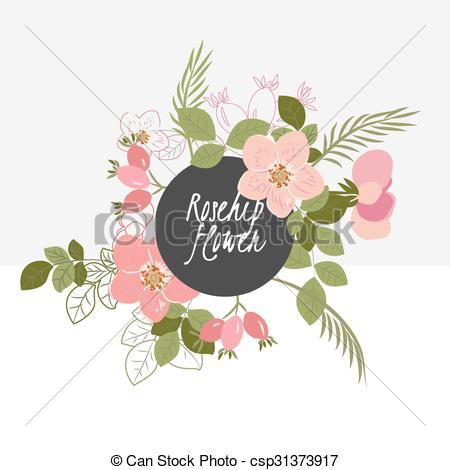 Vector Clip Art of illustration Delicate rosehip flower.