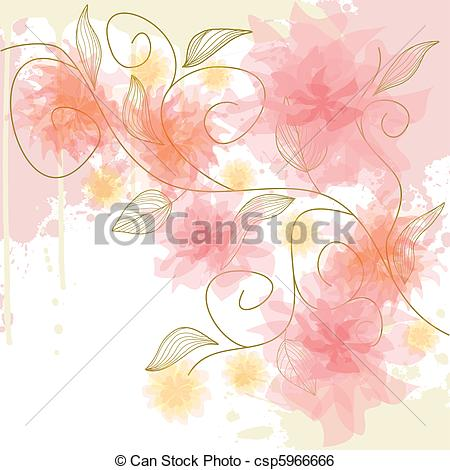 Clip Art Vector of Floral background.