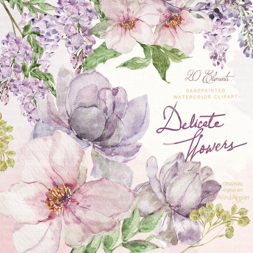 Delicate Flowers Watercolor Clipart.