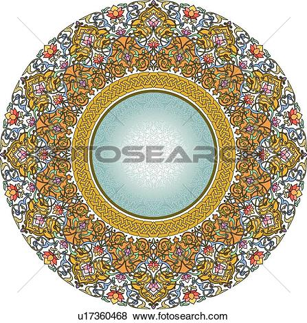 Clip Art of Delicate gold, green, blue and orange round floral.