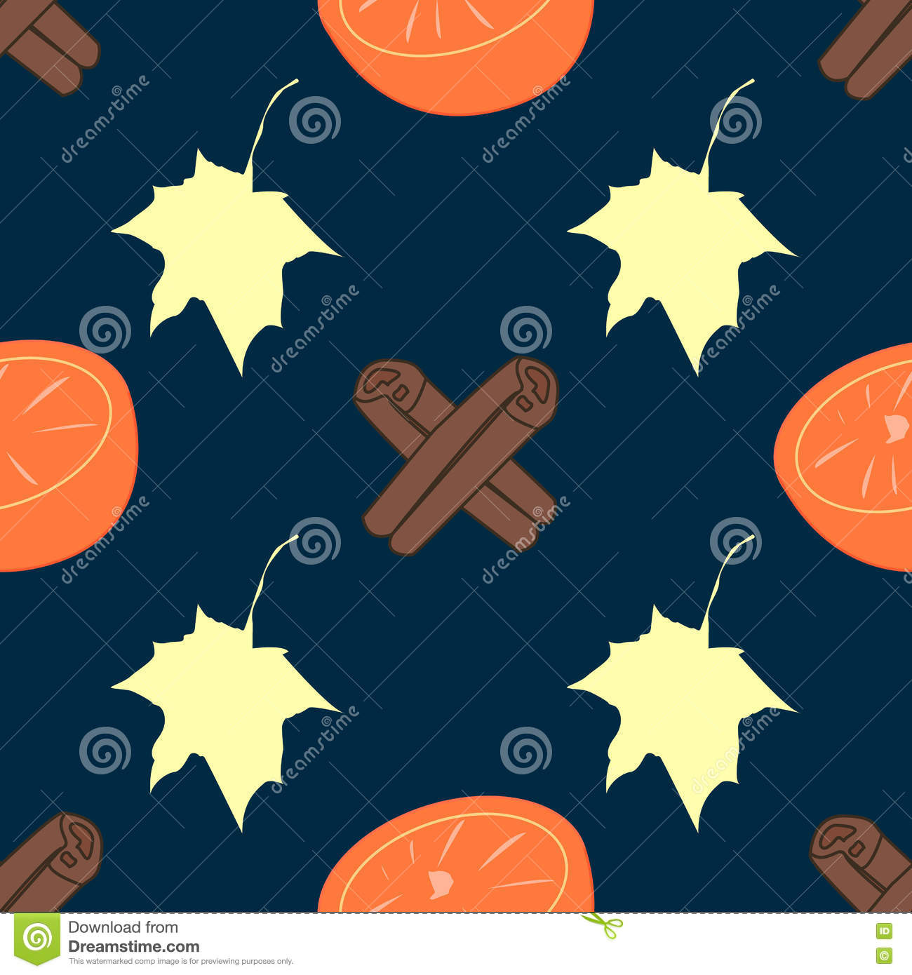 Seamless Vector Texture With Orange And Cinnamon Sticks On.