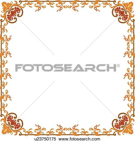 Clipart of Orange Delicate Frame u23750175.