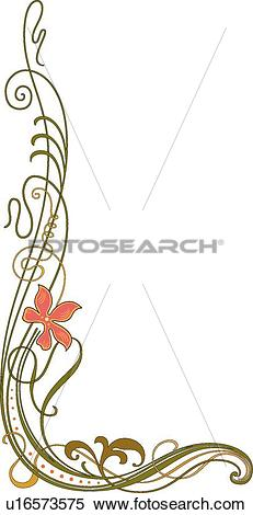 Clipart of Delicate Orange Flower on Green Curly Stems Creating a.